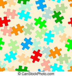 Beautiful seamless wallpaper with jigsaw puzzle, vector...