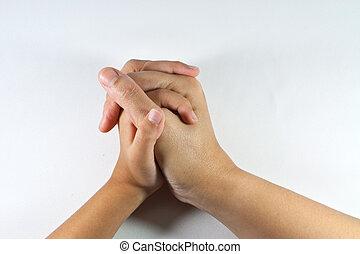 手, 子供, 母