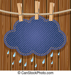Rain cloud on a clothesline - Jeans rain cloud hanging on a...