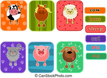 Six simple icons - animals from farm