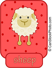 White happy sheep on pink background - simple illustration.
