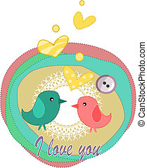 Birds in love - card for valentines day.