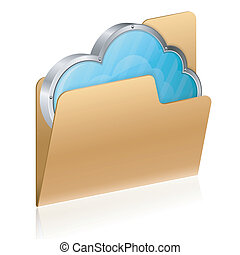 Cloud Computing Concept - Cloud in Computer Folder, isolated...