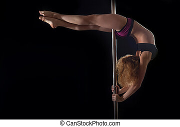 Young pole dance woman in bikini - Full length portrait of...