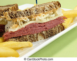 Corned Beef Sandwich - Reuben sandwich with corned beef,...