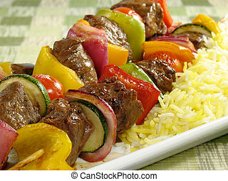 Beef Kebab & Saffron Rice - Juicy beef kebabs with bell...