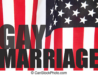 gay marriage words on American flag - a USA flag with the...