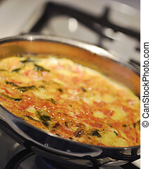 Omelette In A Pan ,Close Up