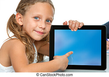 Close up of cute girl pointing on blank tablet screen -...