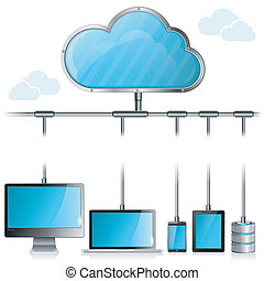 Cloud Computing Concept - Cloud with Tablet PC, Smartphone,...