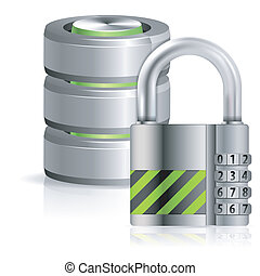 Security Database Concept - Security Concept - Padlock...