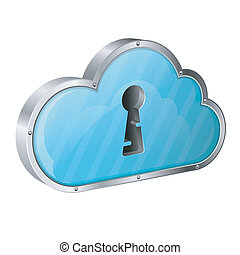 Security Cloud Computing Concept with Keyhole, icon isolated...