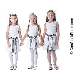 Little girls in white dresses - Full length portrait of...