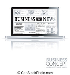 Concept - Digital News. Laptop with Business News