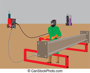 Welder - Man welding a girder with Mig Welder, Oxy Acetylene...