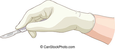 The hand holds a scalpel. Vector illustration.