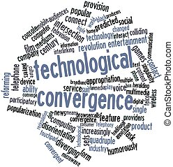 Technological convergence - Abstract word cloud for...
