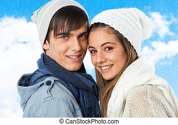 adolescente,  CÙte, Inverno, par, roupas, Retrato