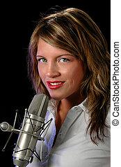 Årgång, mikrofon, kvinna