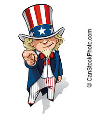 "Uncle Sam ""I Want You"" - Clean-cut, overview cartoon..."