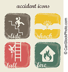 accident icons over beige background. vector illustration