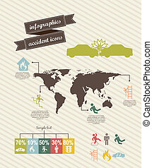 accident icons - infographics of accident icons over beige...