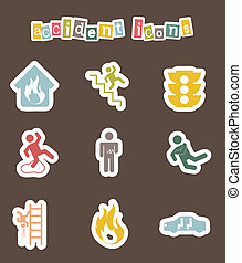 accident icons over brown background. vector illustration