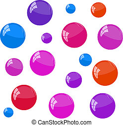 Bubbles on the white background,