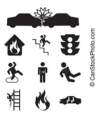accident icons over white background vector illustration