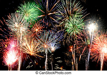 Fireworks: the Grand Finale multicolor lights against a...