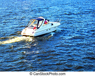Sportboat in the sea - Photo of a sportboat in the sea