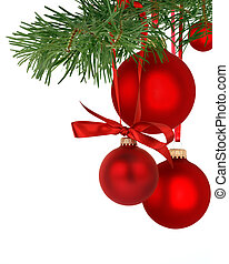 Christmas ornaments - Christmas tree branch with ornaments
