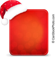 Red Christmas Banner With Santa Hat
