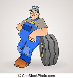 Car Mechanic with Tyre - Professional worker with car tyre...
