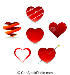 Set of Valentine Hearts - Various red symbols of love...