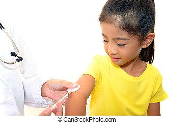 niñas, ser, vacunado