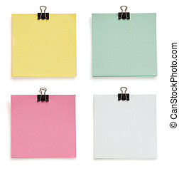 note paper and clip on white - note paper and clip isolated...