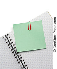 note paper and notebook on white - note paper and notebook...