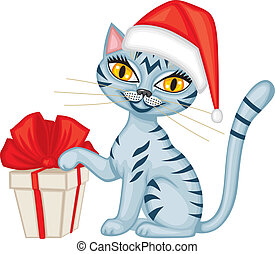 Winter tabby cat with a gift - Tabby blue cat in cap Santa...