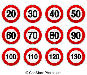 Speed Limit Sign Set - Isolated illustration of circle speed...