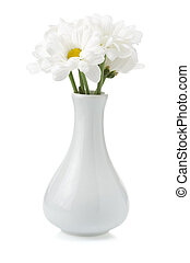 flowers in vase isolated on background