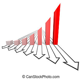 Arrowed business chart red
