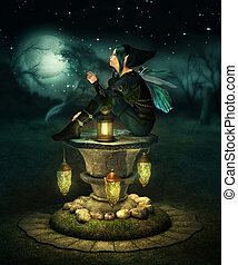 Blue Hood Elf - a little pixie with lanterns sitting on a...