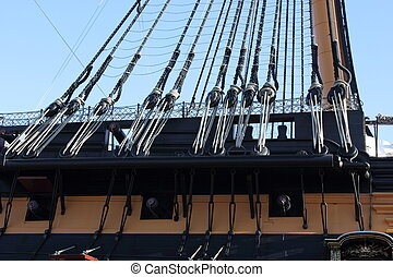 wooden warships rigging - The rigging on an old wooden...