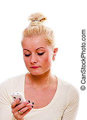 The young woman talks by a mobile phone