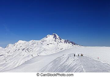 Views of Mount Kazbek Caucasus Mountains, Georgia, ski...