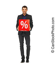 handsome man in suit with percent sign - picture of handsome...