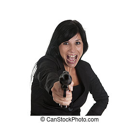 woman robber - one thief dressed in black, pointing with gun
