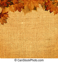 Autumnal abstract still life over hessian background for your design