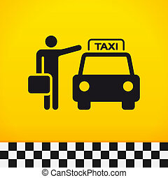 Taxi Theme with Passenger - Passenger waiting for taxi with...